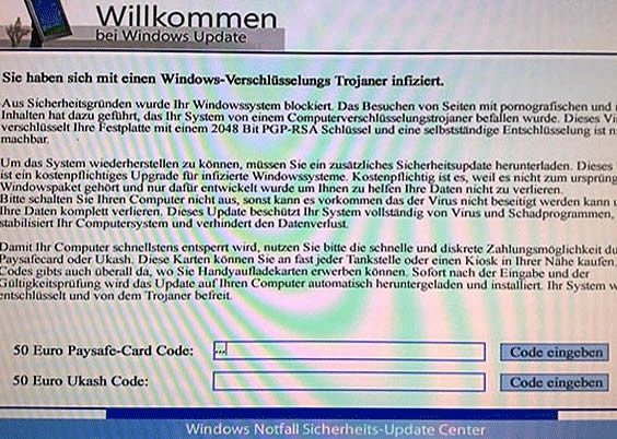 Windows Update Center - Warnhinweis bedeutet Trojaner-Befall