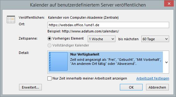 Outlook-Kalender-Freigabe. Einstellungen im Outlook-Dialog