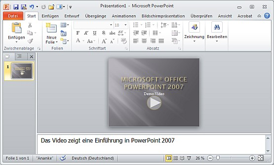 Demo-Video zu PowerPoint 2007