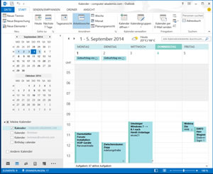 Microsoft Outlook 2013, Screenshot des Kalenders